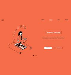 Mindfulness - line design style isometric web vector