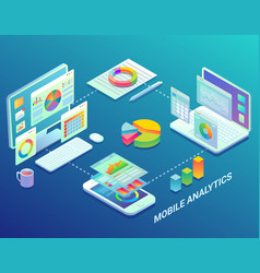 Mobile web analytics infographic flat vector