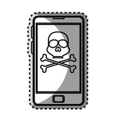 Monochrome contour sticker with cell phone with vector