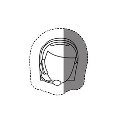 Monochrome contour sticker with head of female vector