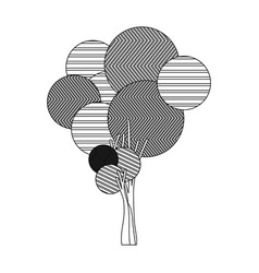 Monochrome silhouette high tree plant with vector