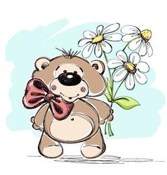 Nice little bear and a bouquet flowers vector