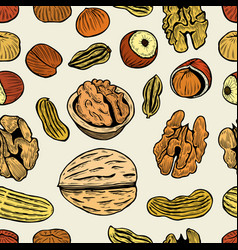 nuts hand drawn seamless pattern vector image