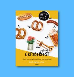 Oktoberfest poster with bakery trumpet beer vector
