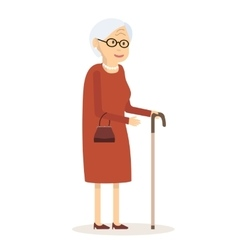 Old Woman with Cane vector image