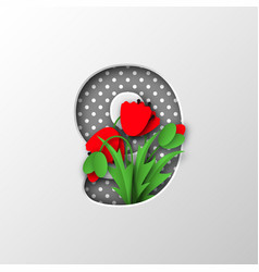 paper cut number 9 with poppy flowers vector image