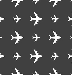 Plane icon sign Seamless pattern on a gray vector