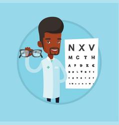 professional ophthalmologist holding eyeglasses vector image