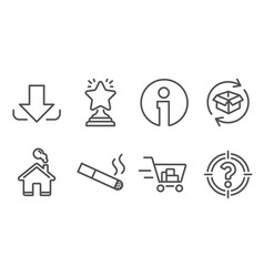 Return parcel smoking and shopping cart icons vector