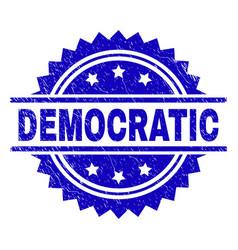 Scratched textured democratic stamp seal vector