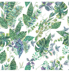 Seamless pattern with green exotic leaves vector