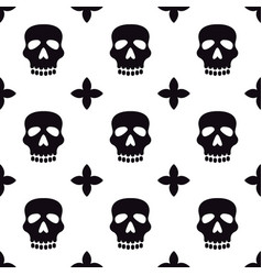 seamless pattern with skulls black and white vector image