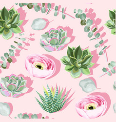 Seamless pattern with succulent on pink background vector