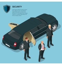 Security officers protects car with VIP person vector