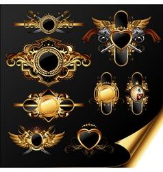 Set of ornamental golden labels vector
