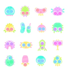 Set of simple minimal flat monster characters vector
