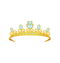 Shiny princess tiara decorated with blue gems vector