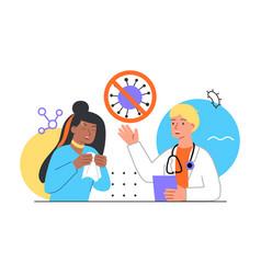 Sick allergy patient visit doctor vector
