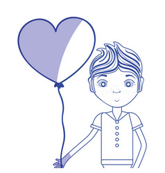 Silhouette man with glasses and heart balloon in vector