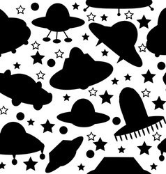 Silhouettes of spaceships seamless pattern vector image