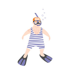 Snorkeling tour swimming in sea masked and vector