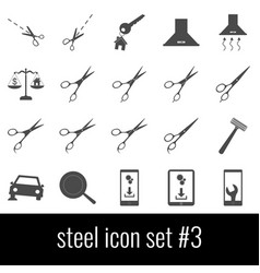 steel icon set 3 gray icons on white background vector image
