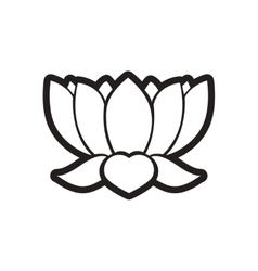 Stylish black and white icon Indian lotus vector