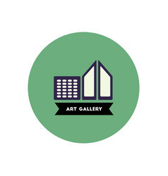 Stylish icon in color circle building art gallery vector