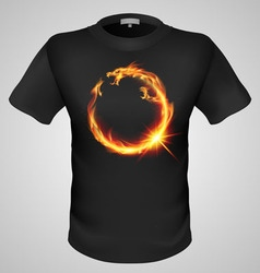 t shirts Black Fire Print man 29 vector image