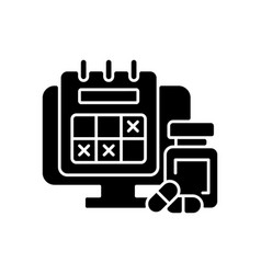 Tracking sick leave time black glyph icon vector