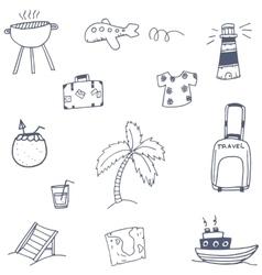 Travel set icon doodle vector