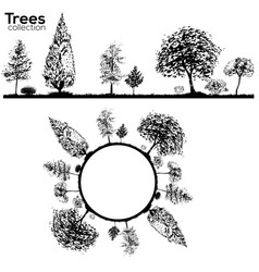 trees collection ink trees silhouettes vector image