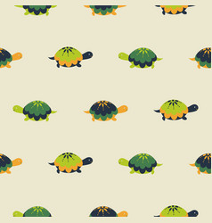 turtle seamless pattern cartoon style vector image