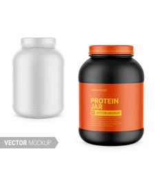 White matte plastic protein jar mockup vector