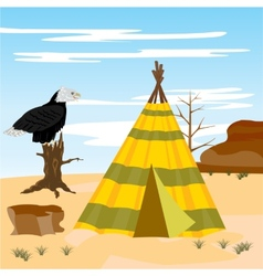 Wigwam in desert vector