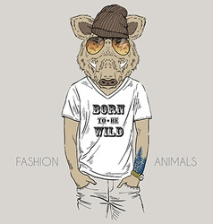 Wild boar dressed up in t-shirt with quote vector