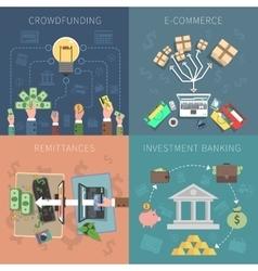 Bank design concept set vector