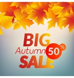 Big autumn sale design template poster Fall vector image