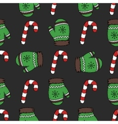 Christmas candy pattern vector image vector image