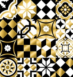 Classic mosaic tile seamless pattern in gold color vector image vector image