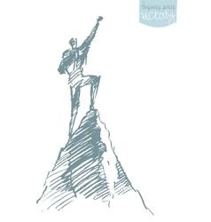 Drawn silhouette man top hill winner sketch vector image