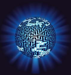 globe labyrinth - maze with illumination vector image vector image