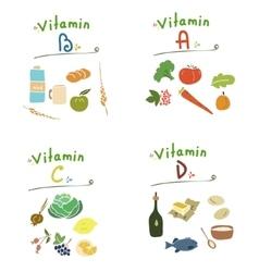 Group vitamins healthy food vector image