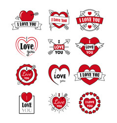 i love you labels badge set as logotype and vector image vector image