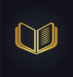 open book education gold logo vector image