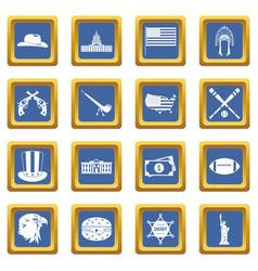 Usa icons set blue vector