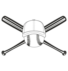 ball and crossed bat vector image vector image