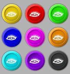 eyelashes icon sign symbol on nine round colourful vector image