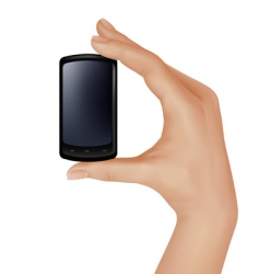 hand with mobile vector image vector image