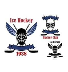 Ice hockey club icons with sport items vector image vector image